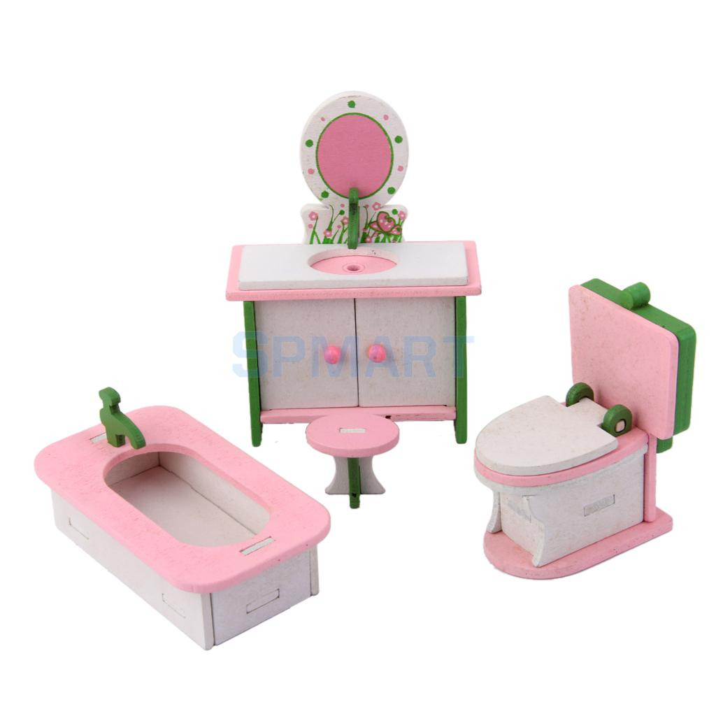 Dollhouse Funiture Wooden Toy Kids Bath Room Set Free Shipping ...