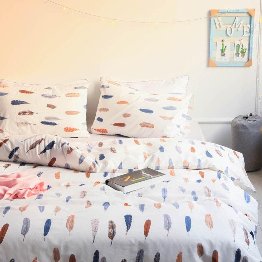 Svetanya z piór druku arkusz poszewki na poduszkę i kapa na kołdrę zestawy 100% bawełna pościel Twin podwójne królowa zestaw pościeli w rozmiarze king w Zestawy pościeli od Dom i ogród na  Grupa 3