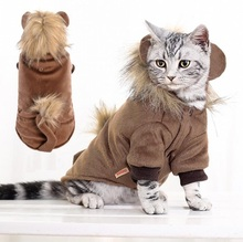 Autumn Winter Cat Costume Pet cat Coat Brown Lion overalls  Teddy Chihuahua Puppy Dog clothes
