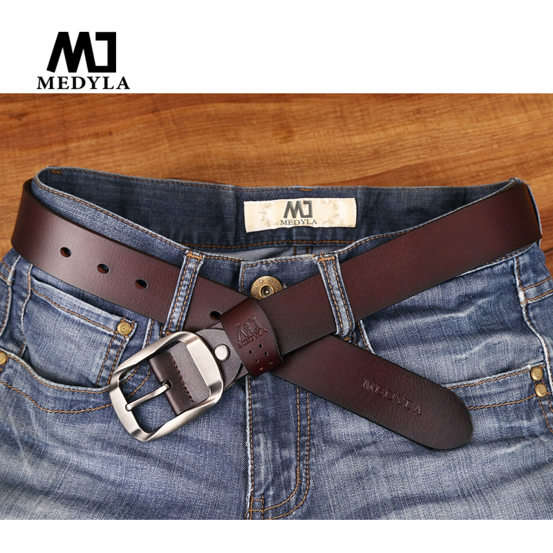 1556478f8 MEDYLA Dropship da Alta Qualidade de Luxo de Couro Genuíno Cinta Pin Fivela  de Cinto Masculino Cintos Para calças de Brim Dos Homens Casuais Masculino  ...