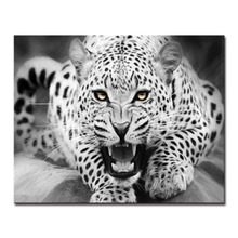 Unique Art DIY Oil Painting By Numbers Modern Abstract Hand Pictures Black And White Leopard Home Decor Living Room Fashion Wall