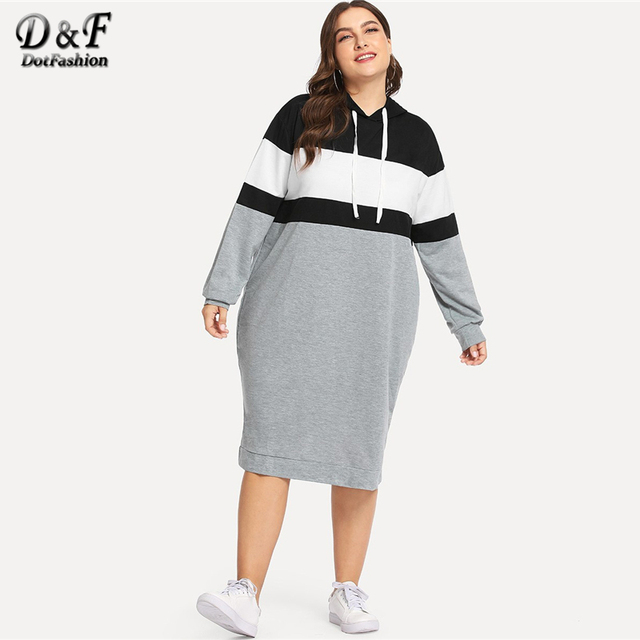 Dotfashion Plus Size Colorblock Drawstring Hooded Sweatshirt Dresses Womens Autumn 2019 Clothing Long Sleeve Knee Length Dress