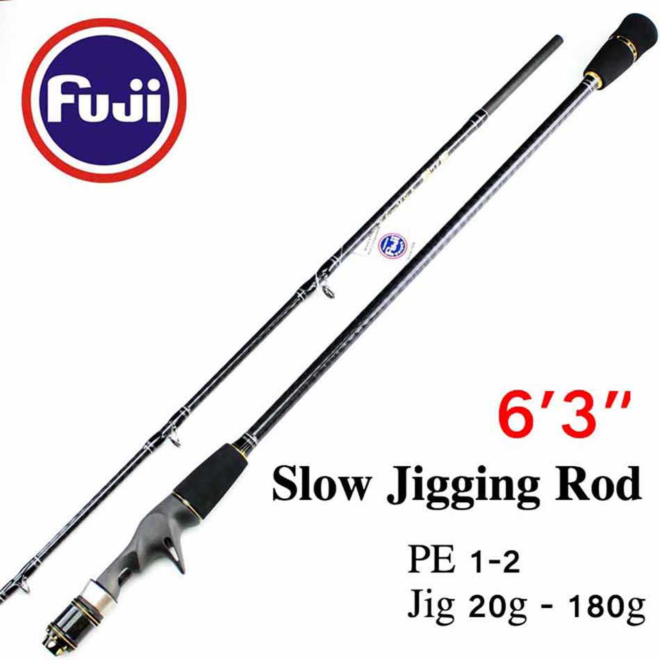 Free Shipping 6'3 Fuji Accessories Jigging Rod PE 1-2 Jig 20g - 180g Casting Slow Jigging Rod цена