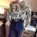 Camisas de los hombres 2017 mens clothing estampado leopardo camisetas marca de lujo barroco camisa slim fit camisas de vestir de lujo royal club de trajes