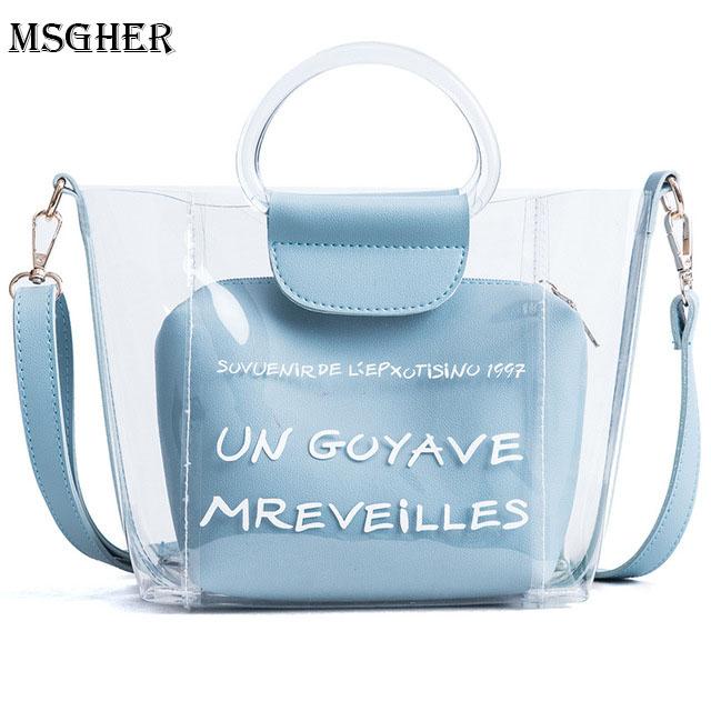 M.S Message Bag Women Summer Beach Bag PVC Transparent Tote Bag Hologram Handbags Women 2 Pcs Shoulder Bag For Women Small WB516