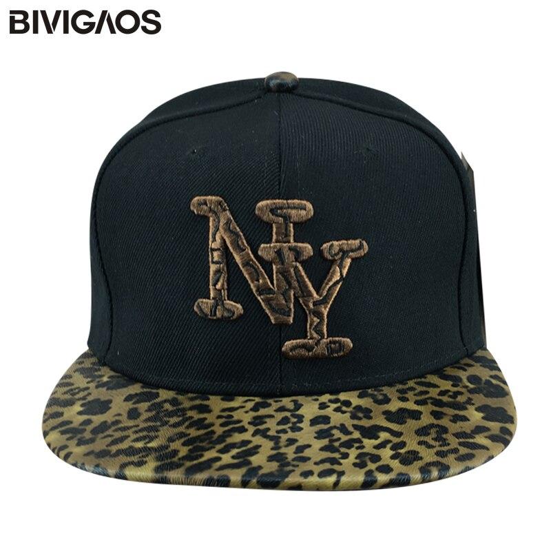 0821316b New Fashion Brown Leopard Leather Snapbacks New York Letters Embroidery  Baseball Caps Hip hop Hats Bones Gorras For Men Women