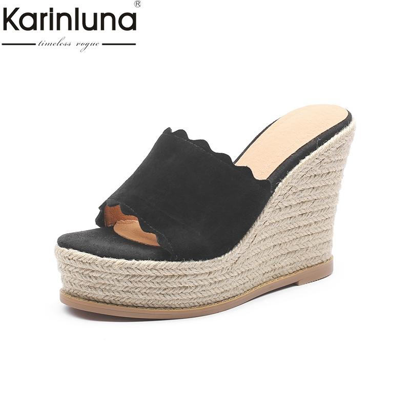 KarinLuna Platform Flock 2019 Brand New Chic Style women s Shoes Big Size 41 Mature Office