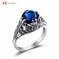 2017 Fashion Large Size Geometric Sapphire Crystal Female Ring Real 925 Sterling Silver Flower Ring For