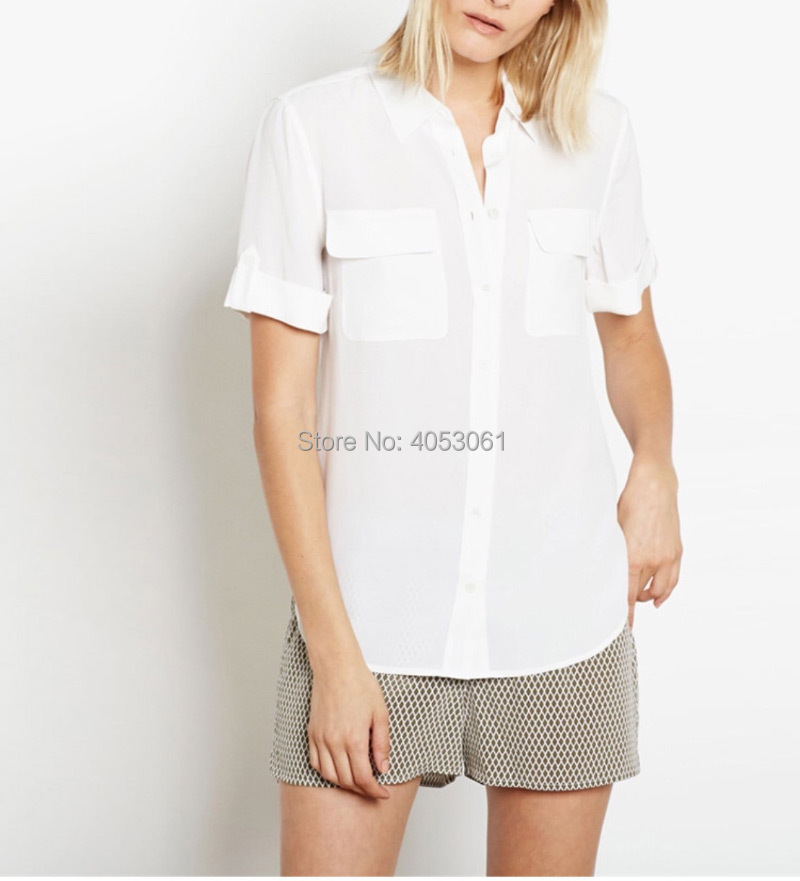 Silk 100 Short Sleeve Shirt Top With Double Pockets 2019ss Women White Black Pink Navy Stylish