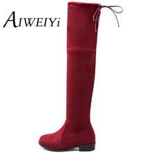 AIWEIYiขนาด34-43ผู้หญิงรองเท้าฤดูหนาวฤดูใบไม้ร่วงล่างแบนรองเท้ารองเท้าในช่วงขาเข่าสูงยาวรองเท้าหนังนิ่มยี่ห้อ