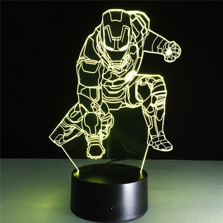 Marvel 3D Lamp Iron Man <font><b>Light</b></font> <font><b>Spider-man</b></font> Luminaria <font><b>USB</b></font> Night <font><b>Light</b></font> for Children