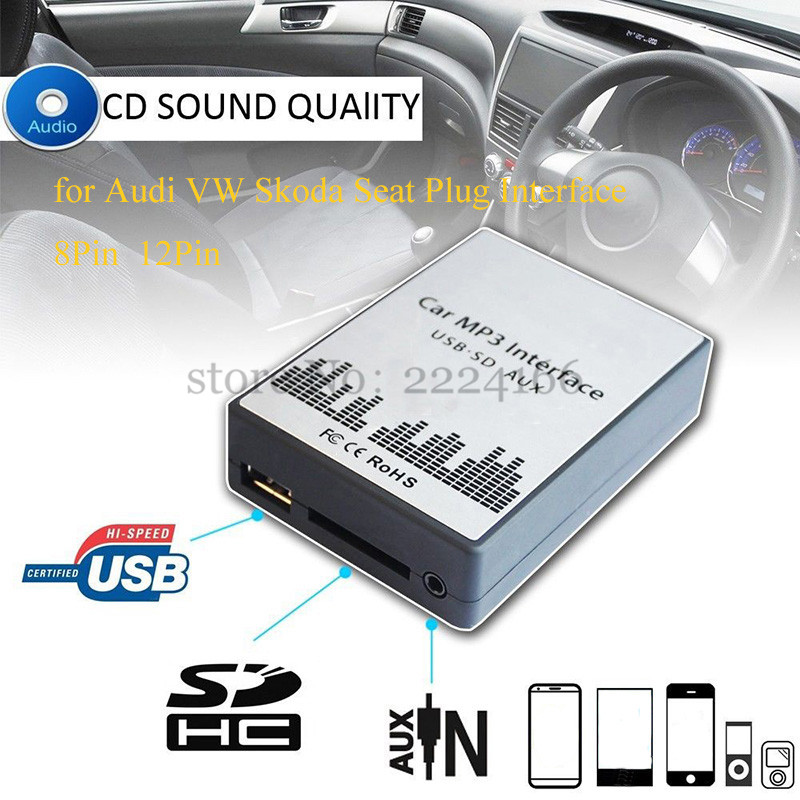 SITAILE USB SD AUX Car MP3 Music Playerr CD Changer Adapter for Audi VW Skoda 8PIN 12PIN Interface Car Kit Simple installation biurlink wireless bluetooth module aux in audio mp3 music adapter 12pin connector for vw for skoda