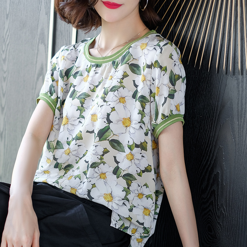 Women's   Blouse   Summer Quality 100% Pure Silk Women Printed   Blouse     Shirt   Tops Party Girls Blusas Femininas
