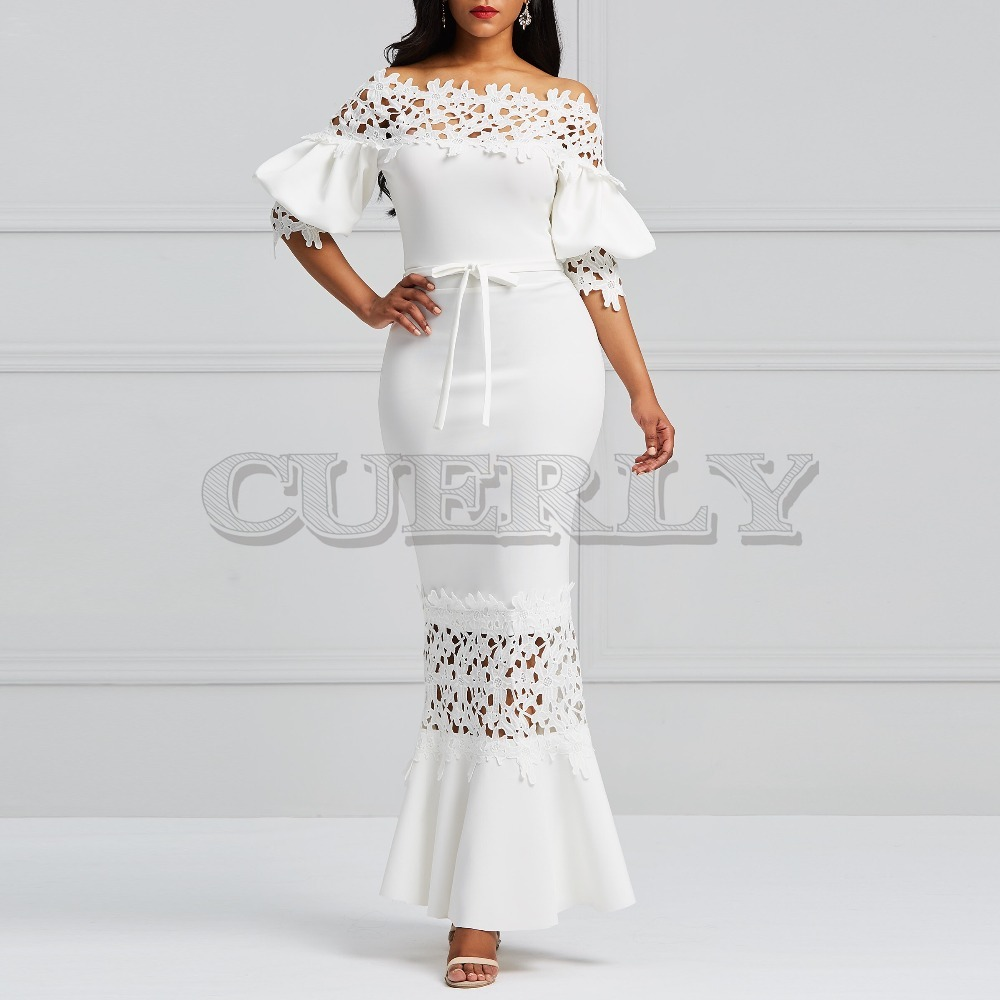 CUERLY Elegant Long Dress Women White Lace Neck Mermaid Dresses Sexy Hollow Lace-Up Bodycon Party Maxi