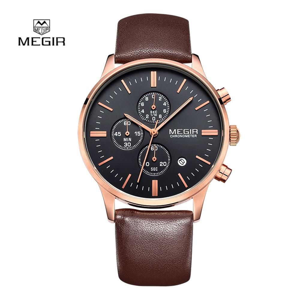 купить 2018 Top Luxury Brand MEGIR 2011 Watches Men Quartz-watch Leather Band thin Dial Fashion Clock man Watche reloj hombre по цене 1427.95 рублей