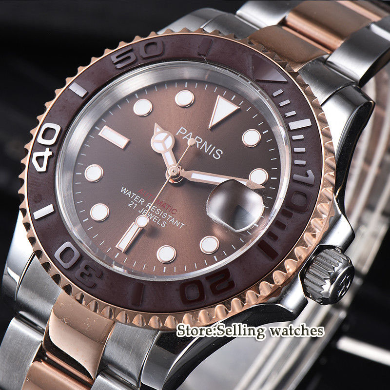41mm Parnis New Sapphire Brown Dial Ceramic bezel Miyota 8215 Automatic Men Watch цена и фото