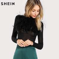 SHEIN Long Sleeve T Shirt Women Black Stand Collar Autumn Womens Tops Feathers Front Party Wear