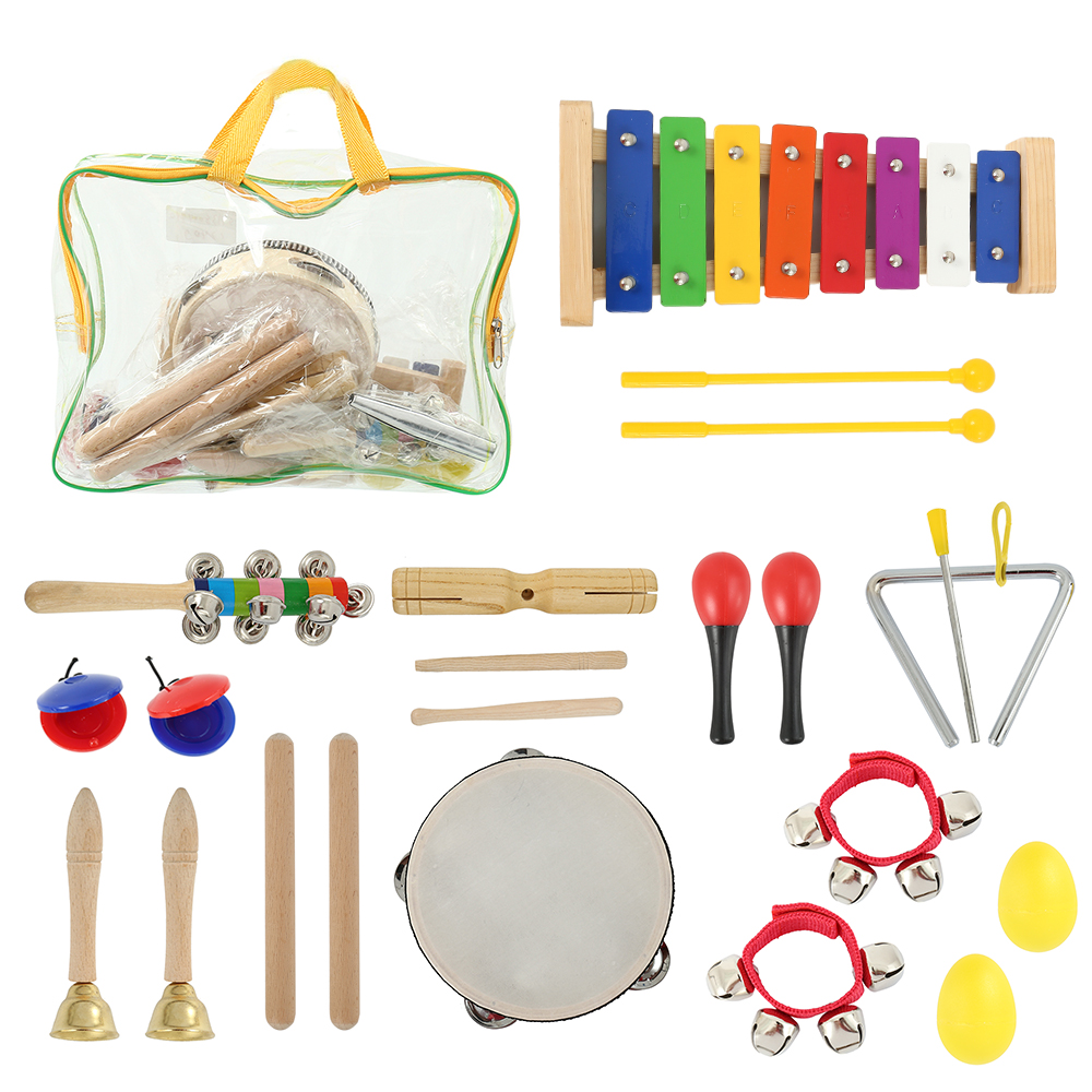 22 pcs Enfants Instruments De Musique Mis En Rythme et L'éducation Musicale Jouets Bande Set Enfant En Bois Percussion Jouet pour Enfants avec cas