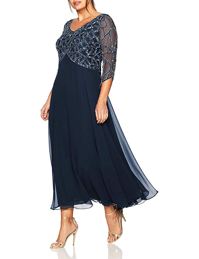 2019  Women's Chiffon Beading Tea Length Long Sleeves Mother Of The Bride Dress Plus Size Vestidos De Madrina