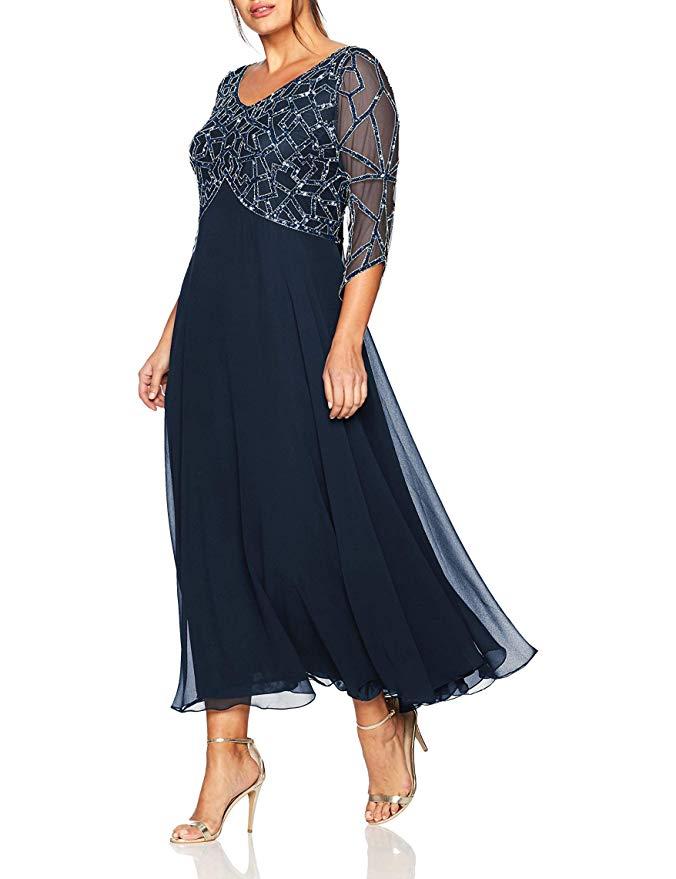 2019 femmes mousseline perles thé longueur manches longues mère De la mariée robe grande taille Vestidos De Madrina