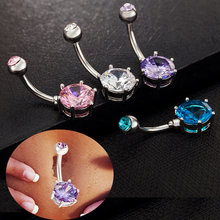 Single Crystal Belly Button Rings Surgical Steel Rhinestone Sexy Piercing Navel Gold Color Body Jewelry цена и фото