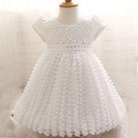 Wholesale Retail EMS DHL Free Shipping 2016 White Princess Puff Sleeve Gauze Dress Baby Girls Toddlers