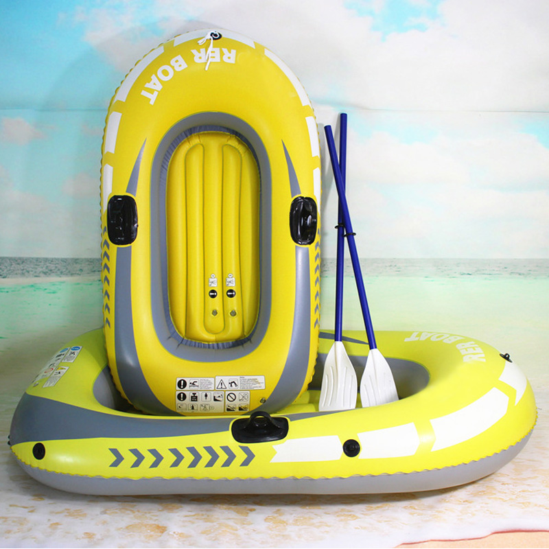 1 or 2-Person Inflatable Boat Set Fishing Raft with Oars and High Output Air Pump Floating Water Inflatable Raft for Fisherman
