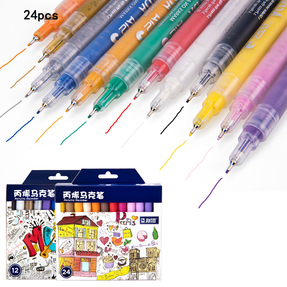 Acrylic Markers Pen 12 24Colors Premium Paint Pens for Painting on Rock/ Canvas/Metal/Wood/Ceramic/Easter Egg/DIY Craft Projects beistle company mens easter egg whirls assorted