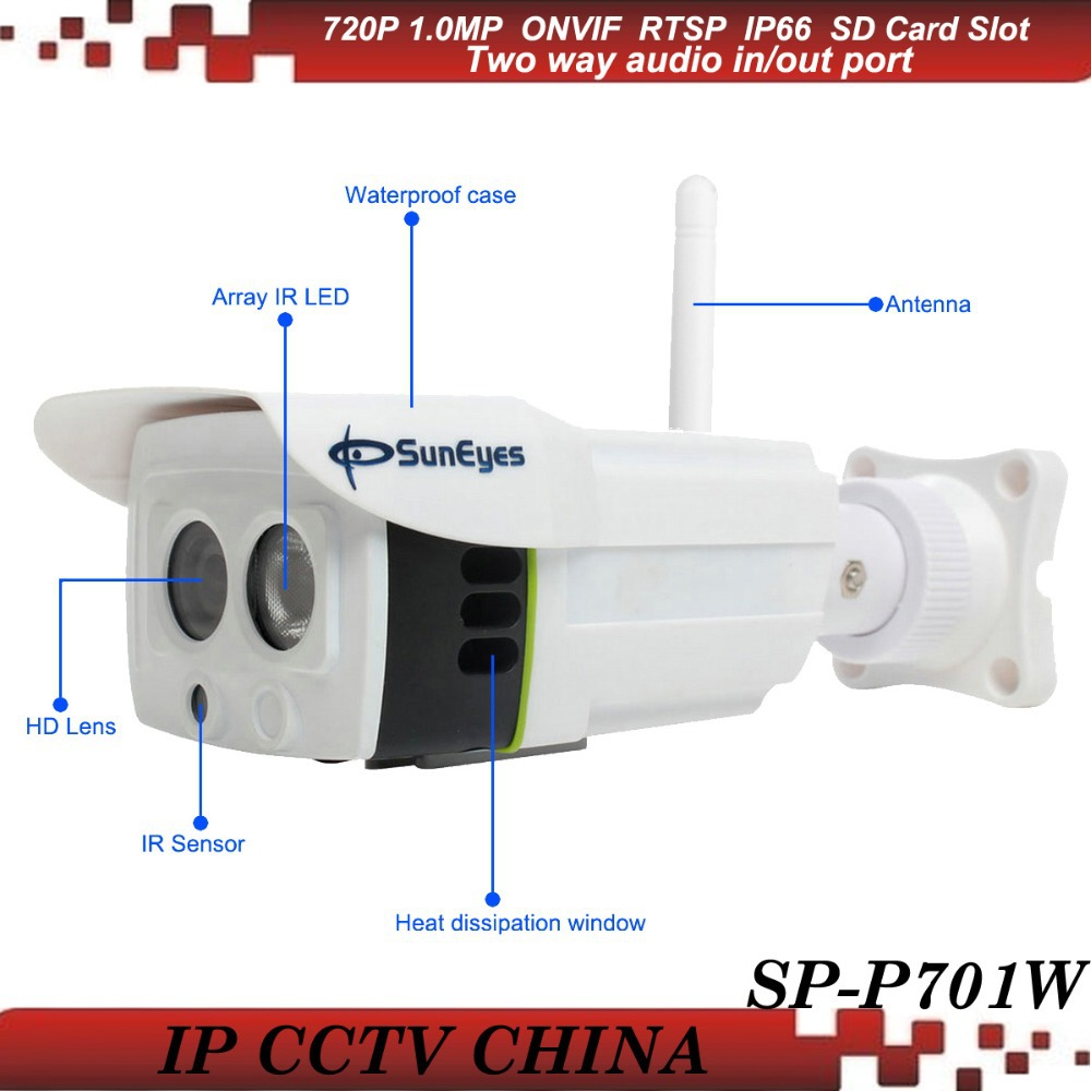 SunEyes SP-P701W ONVIF Wireless IP Camera Outdoor 720P HD Project High Quality with Two Way Audio and Micro SD/TF Card Slot