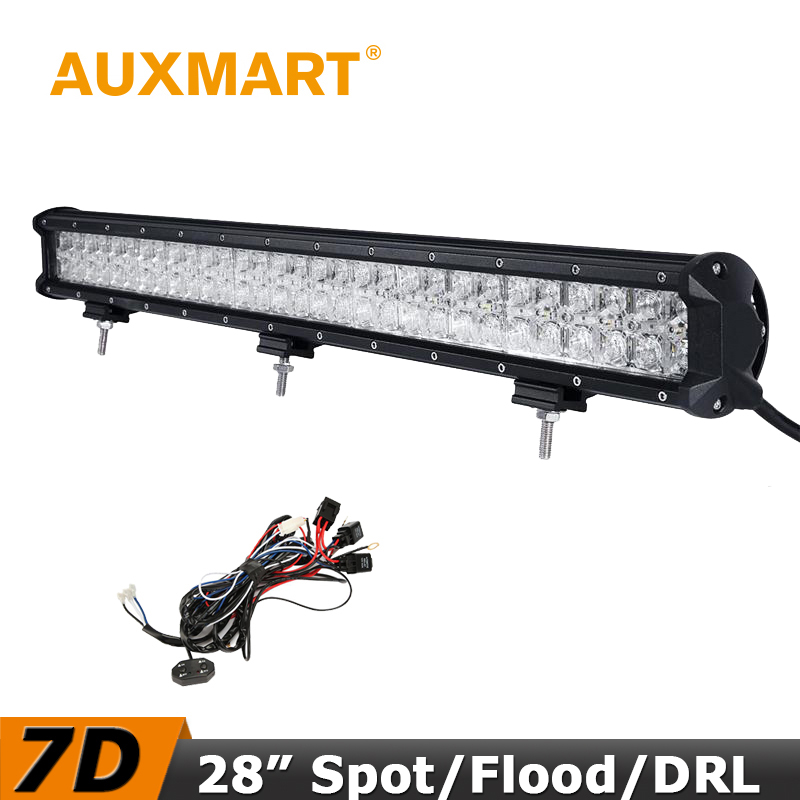 Auxmart LED Car Light Bar 29 inch 7D 300W Lampada Bar Combo Beam Offroad Driving LED Bar For Jeep Ford Toyota off road Chevrolet auxmart 22 led light bar 3 row 324w for jeep wrangler jk unlimited jku 07 17 straight 5d 400w led light bar mount brackets