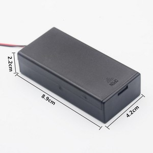 Image 2 - Caja de batería de plástico negro, 2 secciones, 18650, con interruptor, bricolaje, contenedor de soporte con Clip con cable de plomo, 1 ud.