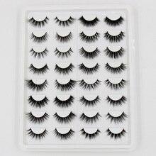 AMAOLASH 7/16 Pairs/Pack 3D Mink Lashes Fluffy False Eyelashes Handmade Mink Eyelashes Full Strip Lashes Eyelash Extension