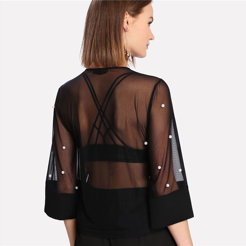 New Pearl Embellished Round Neck Sheer Women Blouse 2018