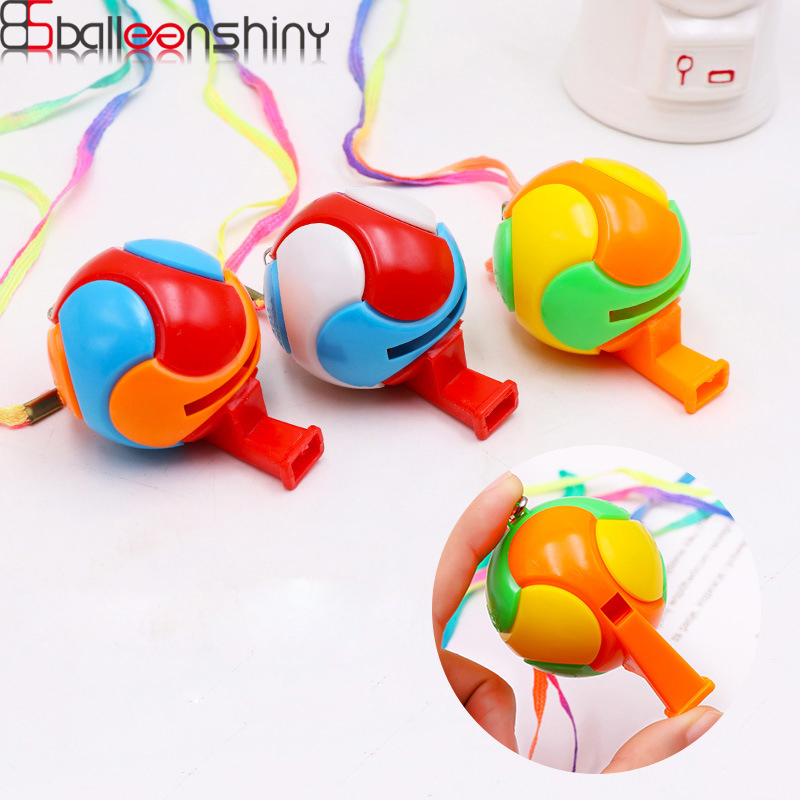 BalleenShiny 3pcs/lot Baby 3D Soccer football Whistle Cheerleading Toys For Kids Children Plastic Whistles Toys With Ropes