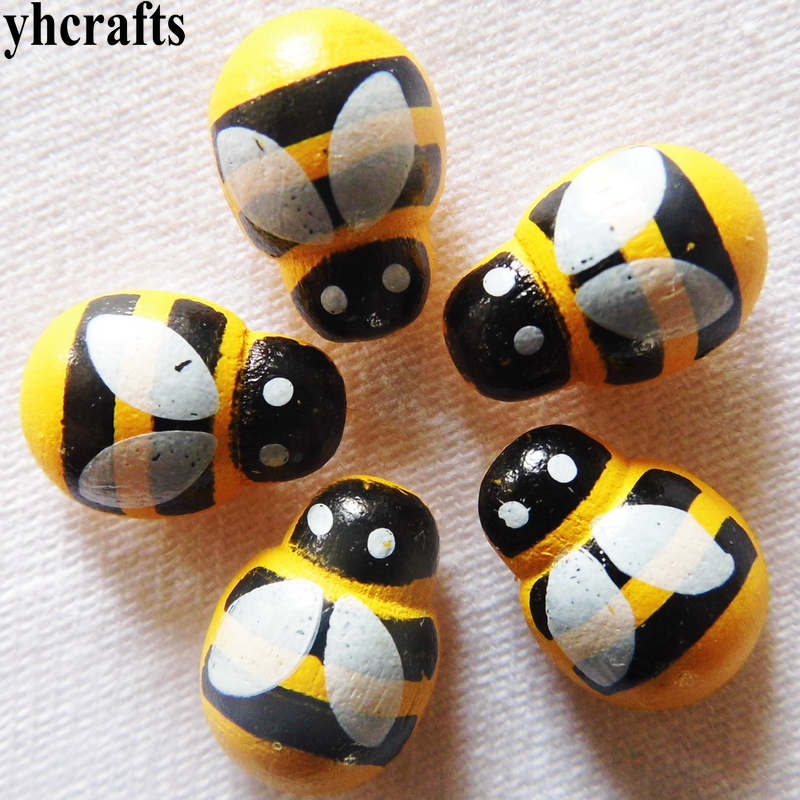 100PCS/LOT Mini Yellow Bees Wood Stickers Ladybug Apple Animals Smile Stickers Early Learning Educational Toys Craft Diy OEM