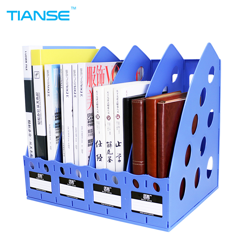 TIANSE plastic document trays file holder file organizer for magazine book desk storage office stationery 4 cases file folder 1 set business file tray diy desktop magazine a4 file organizer document trays office supplies stationery random color