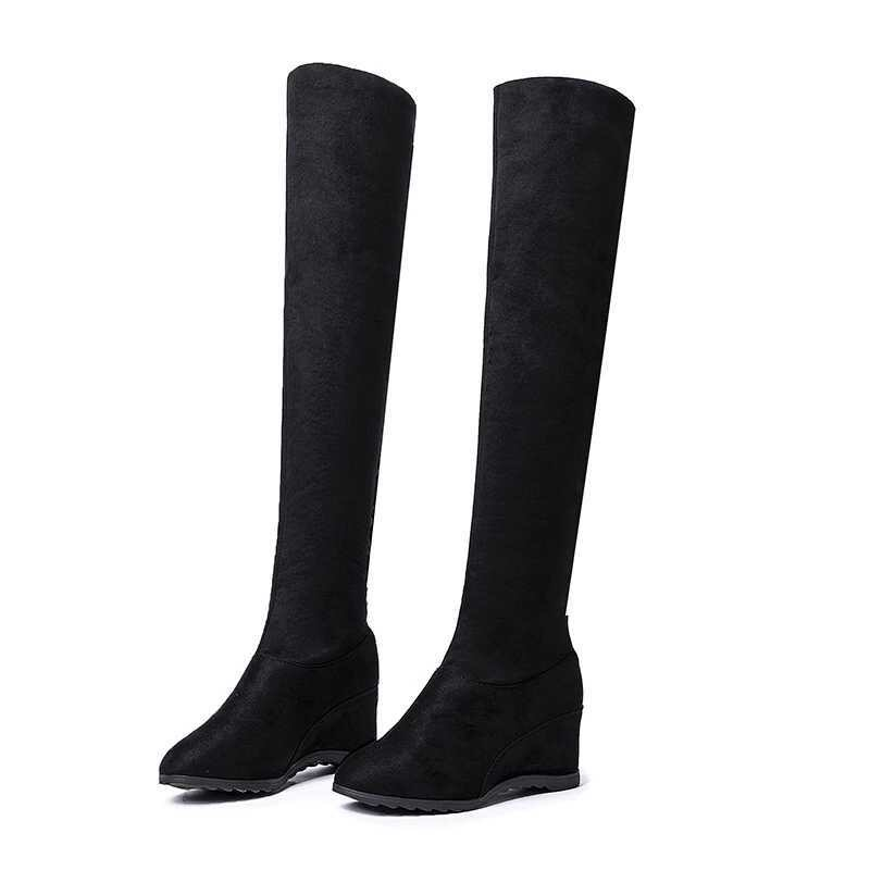 free transport style winter boots women 2019 fashion soft velvet women boots Long tube boots size
