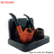 MUXIANG Ebony Solid Wood 2 Pipe Racks Briar Wood Smoking Pip