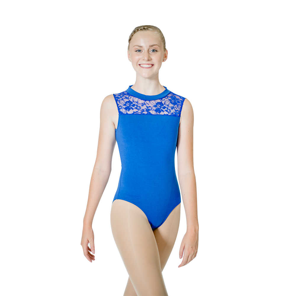 6e198bb2a1 Ladies Cotton Lycra Gymnastics Leotard with Lace Front and Open Back Girls  Ballet Dancewear Practice