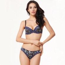 Lace Bra Thong Set Sexy Silky Floral Underwear Women Push Up Bra Panty Sets Ladies Luxury