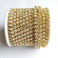 gold base clear crystal Rhinestones SS6 to SS18 intensive 10 yards/roll new style diy beauty accessories rhinestone chain
