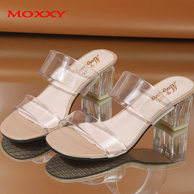 2019 Clear Heels Slippers Women Sandals Summer Shoes Woman Transparent Shoes High Heels Pumps Wedding Jelly Sandals Buty Damskie