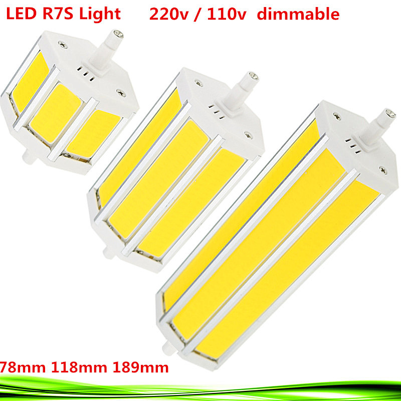 1X Dimmable COB LED R7S bulb 110V 220V 10W 15W 20W r7s 78mm 118mm 189mm led spot light replace halogen Lamps floodlight lampadas rayway dimmable 10w r7s led 118mm 360degree 5w 78mm lampadas led r7s bulb 12w 135mm 15w 189mm replace halogen lamp glass cover