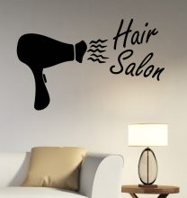 Girls Beauty Salon Wall Stickers Hair Salon Vinyl Removable Wall Decal Hair Dryer Pattern Barber Shop Hairdressing Decor SYY743(China)
