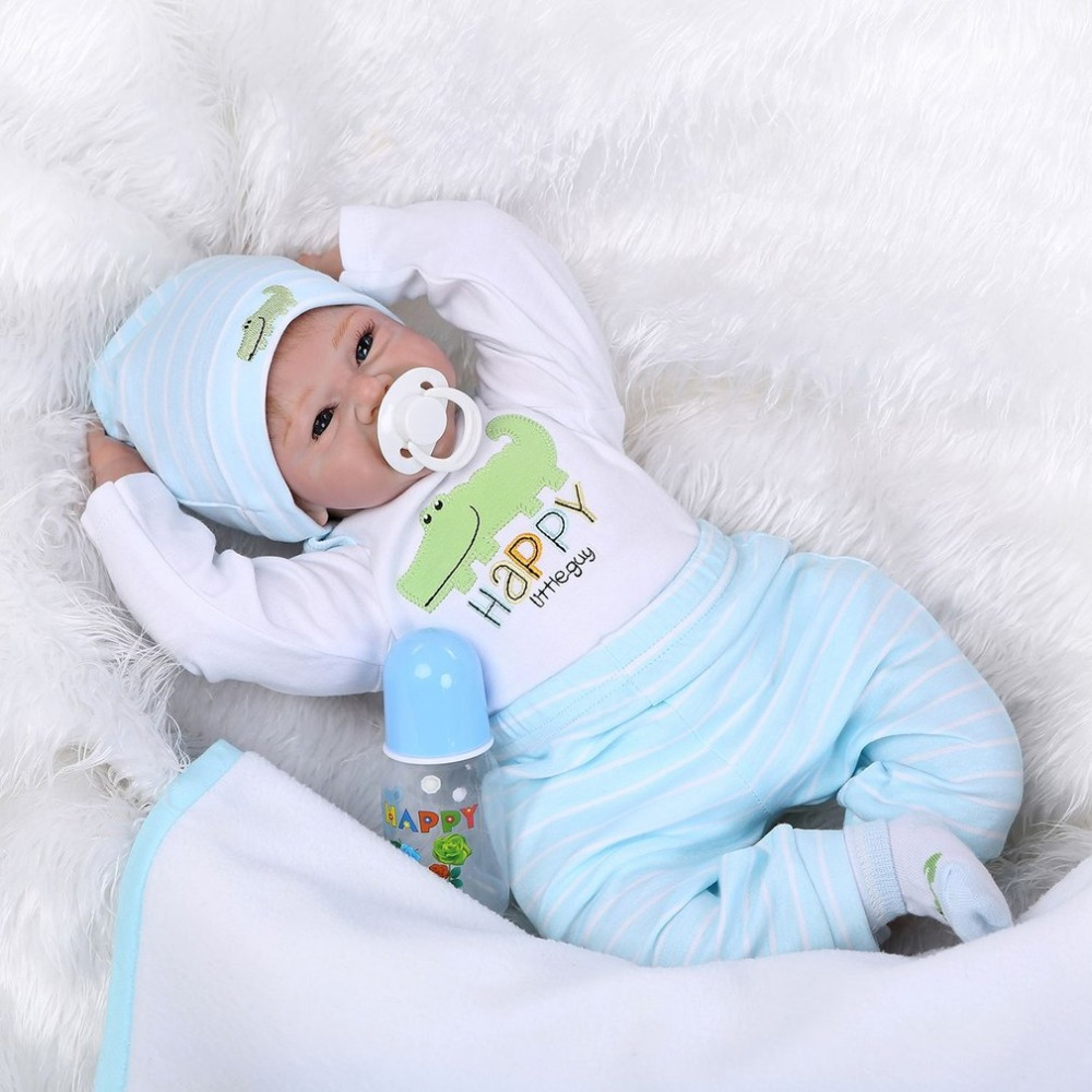 Hot! 55CM Happy Smile Realistic Reborn Baby Alive Doll Silicone Newborn Doll Lifelike Play House Toy Best Birthday Gift For Girl simulation baby girl dolls with short yellow hair newborn realistic alive silicone 60cm height gift for kid house education doll