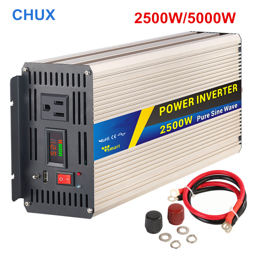 цена на Pure sine wave Power Inverter 2500W peak 5000W dc to ac Input 12V 24V to 110 220V 50HZ CE universal socket off inverter