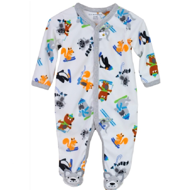 Hooyi Fleece Baby Rompers with foot Baby Boys clothes bebe Jumpsuits Overalls Sleepwear roupas de bebe pijama Outfits