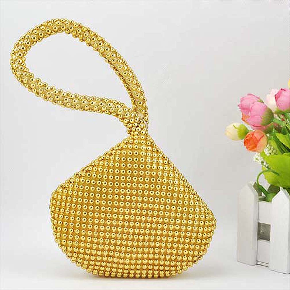 Hot Small Soft Body Beaded wristlet Pouch Shaped Clutch evening Bag change purse bag-Gold все цены