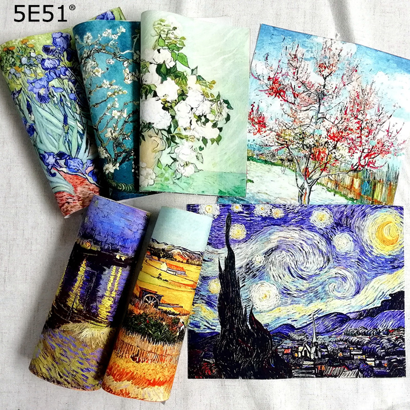 Van Gogh oil painting handmade cloth DIY patchwork / positioning painting decorative canvas hand dyed cloth 20 * 25cm(China)