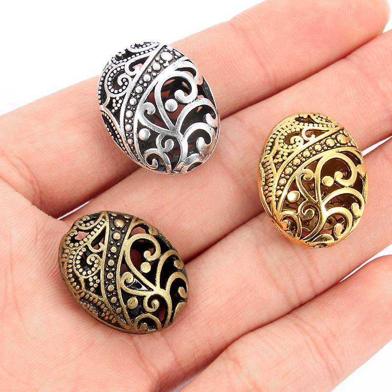 10pcs Antique Bronze/Silver/Gold Color Oval Spacer Beads For DIY Alloy Charms Bracelets Accessories Jewelry Making 22*17mm